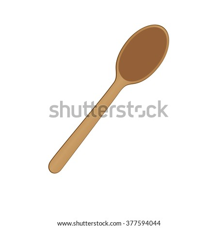 Wooden spoon Icon Isolated on white