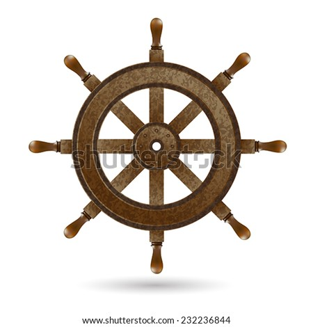 Wooden steering wheel of the ship.  - stock vector