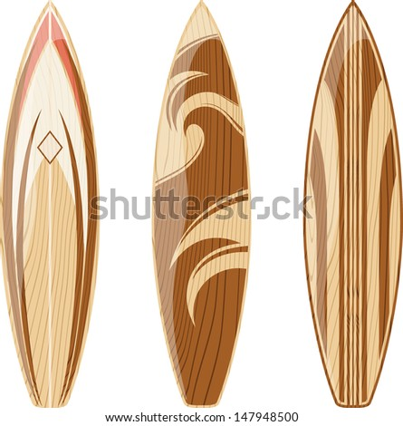 wooden surfboards isolated on white background, vector format very easy to edit, no gradients, only solid colors - stock vector