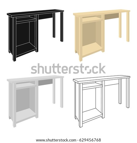 Wooden Table Legs.Table For Drawing Pictures.Table With Drawers Sketch Icon  For Infographic