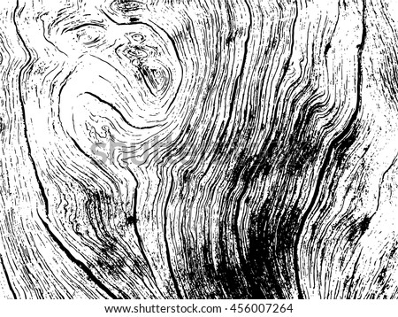 Wooden texture vector illustration in black and white colors. Rustic wood monochrome scalable image. Old wood background. Timber macro illustration. Natural wooden structure. Wood backdrop - stock vector