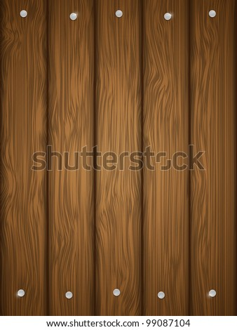 Wooden texture with nails. Vector illustration. - stock vector