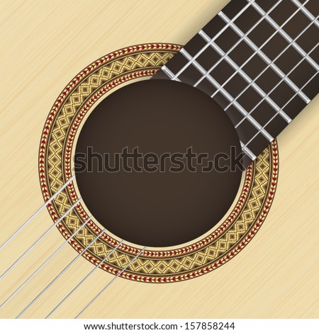 Wooden textured background with classical guitar rosette in the foreground - stock vector