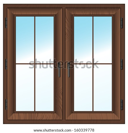 wooden textured closed window isolated on white. Vector illustration.