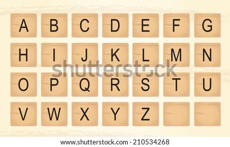 Wooden Tiles Alphabet Letters - stock vector