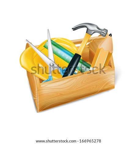 wooden tool box with hard hat, hammer,ruler and  pencil isolated on white  - stock vector