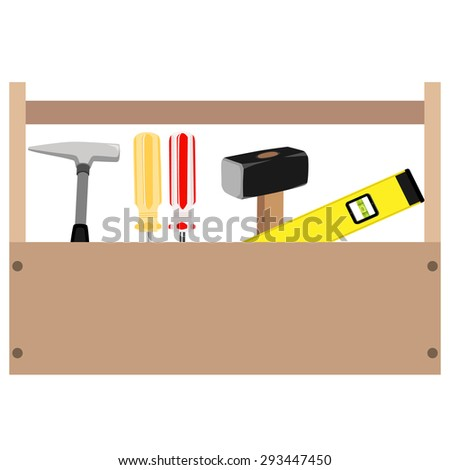 Wooden toolbox with handle. Vector illustration of  orange and red screwdriver, sledge hammer, hammer and level tool inside toolbox - stock vector