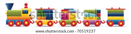 wooden train - stock vector
