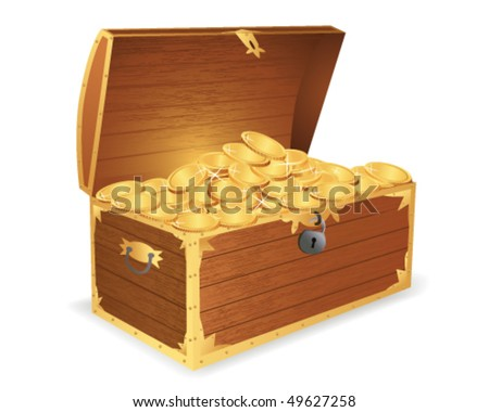 Wooden treasure chest - stock vector