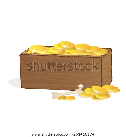 Wooden treasure chest with golden coins. Vector Illustration.  - stock vector