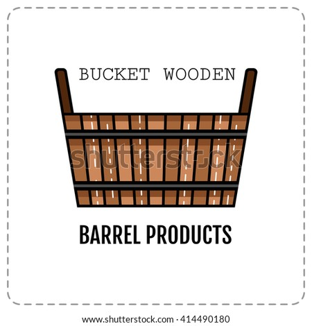 Wooden tub, basket isolated on white background.  Flat colored icon.  - stock vector