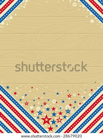 wooden usa background with stars - stock vector
