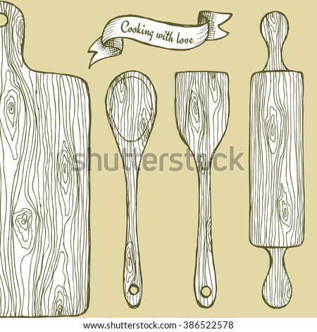 Wooden utensil in vintage style, vector roling pin, cutting board and spoon - stock vector