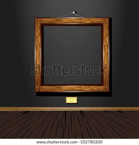 wooden vintage old frame on black wall. vector illustration.