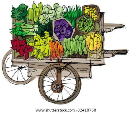 wooden vintage retail cart with vegetables - stock vector