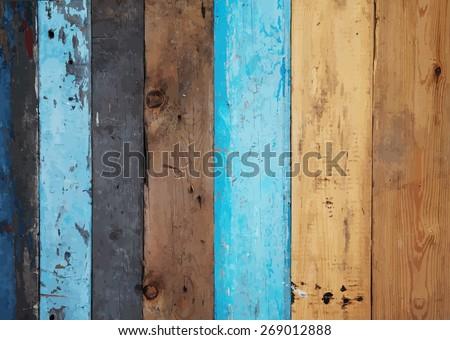 wooden wall, vector. - stock vector