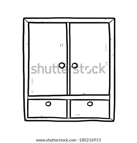 Wardrobe clipart black and white  Wooden Wardrobe Cartoon Vector Illustration Black Stock Vector ...