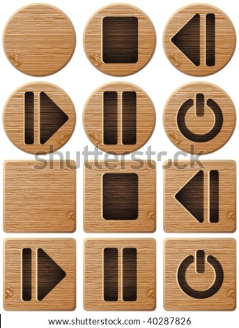 Wooden web buttons - stock vector