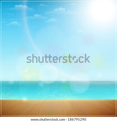 Wooden Wharf On a Sea Beach.. Vector Illustration.
