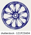 Wooden wheel. Doodle style - stock vector