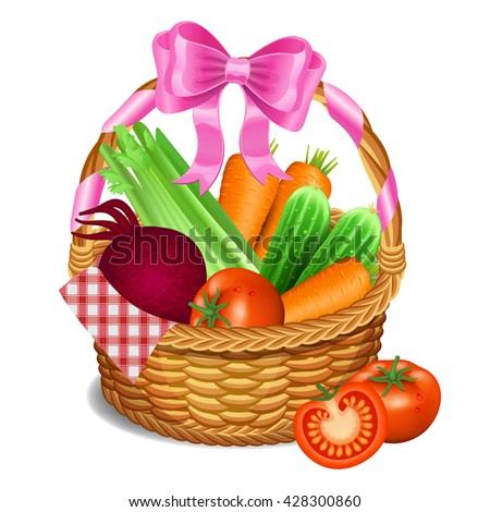 Wooden wicker basket with vegetables, isolated on a white background. Vector illustration