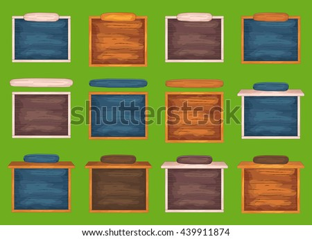 Wooden window for game interface with header - stock vector