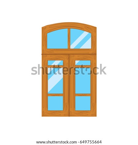 Wooden window frames view . Retro plastic windows. Flat windows
