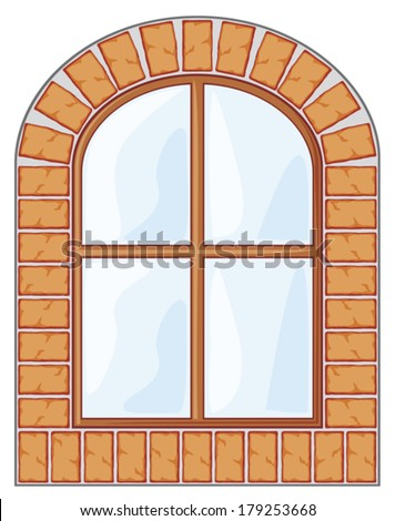 wooden window on brick wall   - stock vector