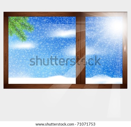 Wooden window with a beautiful landscape view. Winter. - stock vector