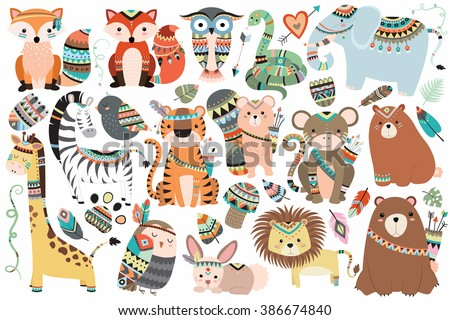 Woodland and Jungle Tribal Animals Isolated Vector Set