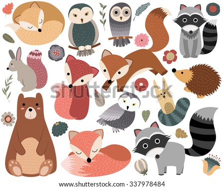 Woodland Animals and Cute Forest Design Elements - stock vector