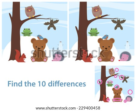 Woodland animals kids educational puzzle to spot the 10 differences between two illustrations of a cute little cartoon bear, bat, owl, squirrel, bird and frog on a tree, with a supplied solution - stock vector