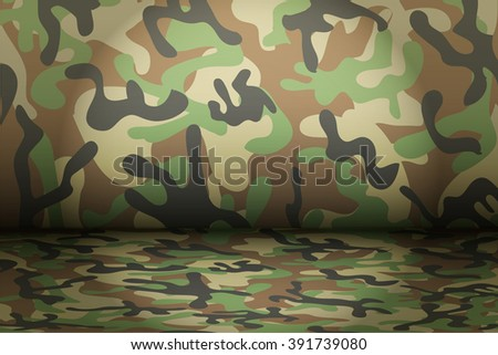 Woodland Camouflage background. Mockup for presentation items. Vector Illustration. - stock vector