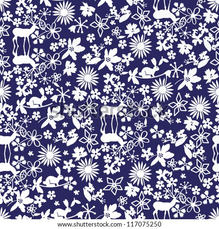 Woodland Christmas pattern on a blue background - stock vector
