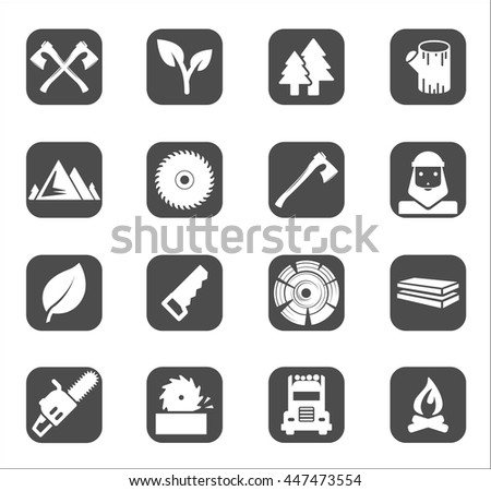 Woodman or lumberjack black flat icons set, vector. Lumberjack and wood works black symbols collection. Design elements with wood, lumberjack  felling ax, saw