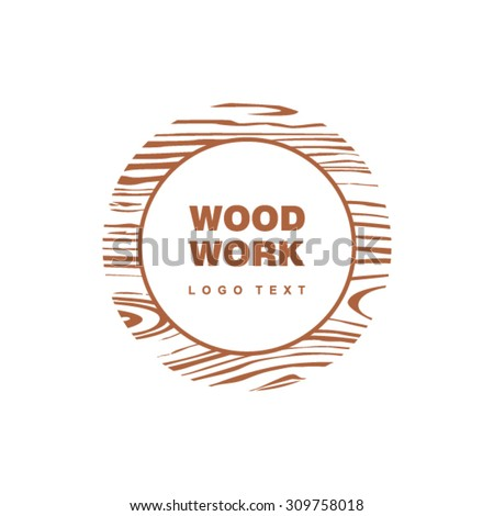 Woodwork logo in circle with wooden pattern - stock vector