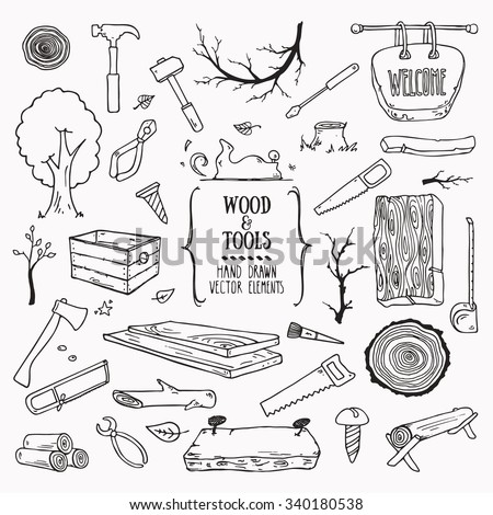 Woodworking, lumberjack, wood and tools symbols. Collection of hand drawn illustration in doodle style. Isolated vector. - stock vector
