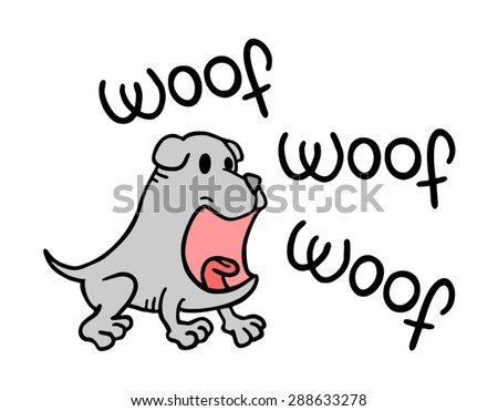 woof dog message - stock vector