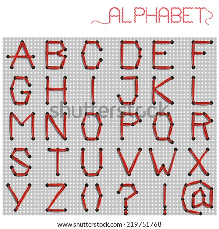 wool alphabet red - stock vector