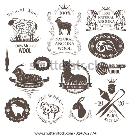 Wool labels and elements. Logo set of sheep, alpaca, rabbit and goat wool. Stickers and emblems for 100% natural wool products. - stock vector