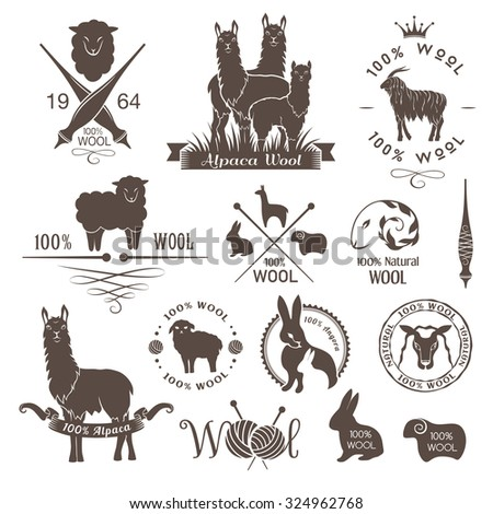 Wool labels, signs and design elements. Logo set of sheep, alpaca, rabbit and goat wool. Stickers and emblems for 100% natural wool products. - stock vector
