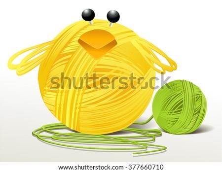 Woolen handcraft Easter chicken - stock vector