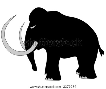 Woolly Mammoth silhouette - vector illustration - stock vector