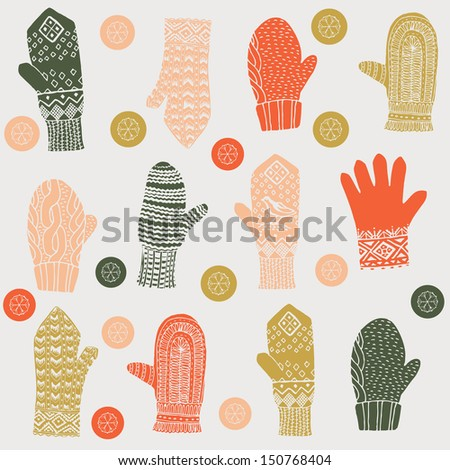Woolly winter mittens and gloves Stock Vector Illustration:  - stock vector