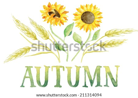 Word AUTUMN painted with green and yellow watercolor with five ears of wheat and two sunflowers. Vectorized watercolor painting. - stock vector