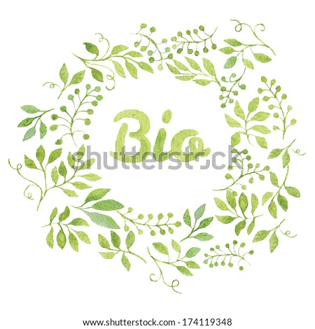 """Word """"Bio"""" in simple and cute floral oval wreath with spring branches and leaves. Vectorized watercolor drawing. - stock vector"""