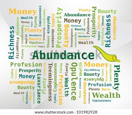 Word Cloud - Abundance with Horn of Abundance Icon - stock vector