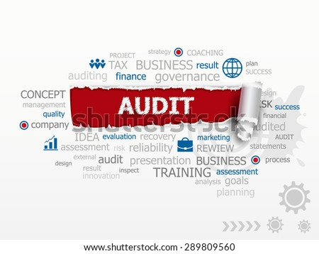 Word Cloud Audit concept. esign illustration concepts for business, consulting, finance, management, career. - stock vector