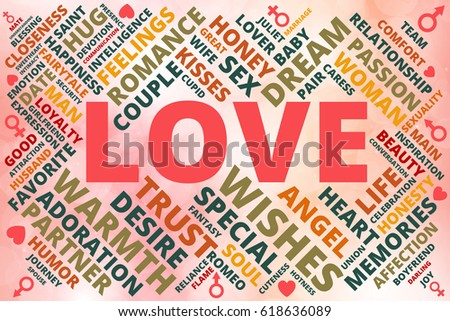 Word Cloud Collage Related Love Theme Stock Vector 618636089