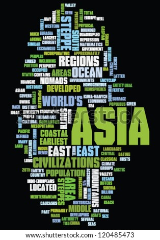 Word cloud concept illustration of Asia
